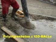 Čerpání polystyrenbetonu z výrobku IZO-BALL