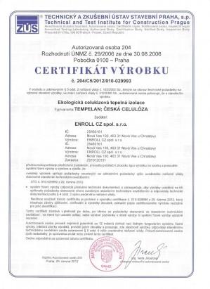 Certifikát foukané izolace TEMPELAN